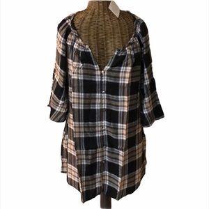 NWT Roaman's Plaid Shirt 12 Black Gold White